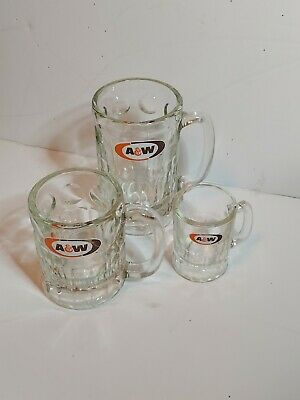 Three Vintage A&W Root Beer Glass Mugs
