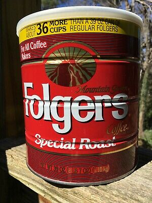 VINTAGE FOLGERS SPECIAL ROAST STEEL COFFEE CAN EMPTY W/LID 39oz 36 More Cups