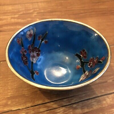 "Vintage Chinese Blue Cloisonne Enamelled Small Bowl Floral Pattern 4"" Diameter"