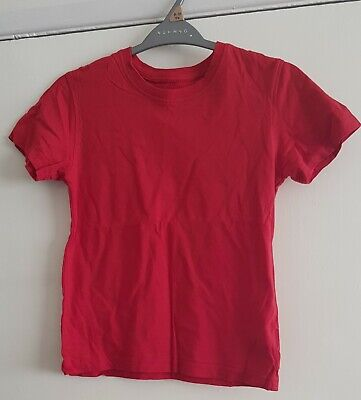 Unisex red school pe/sports t shirt 8-9 years