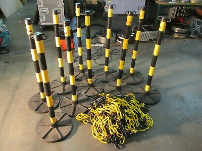 10 JSP security bollards / barriers - 50m of chains - posts and bases