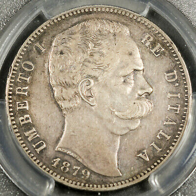 Italy 1879 R 5 Lire Crown Size Silver Coin KM#20 PCGS XF UMBERTO I