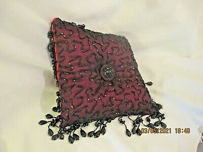 Beaded Pillow Black beads on dark red taffeta Bead fringe 8 inches square