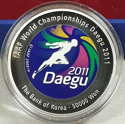 KOREA 2011 50000 50,000 Won IAAF WORLD CHAMPIONSHIPS DAEGU SILVER W/BOX+COA