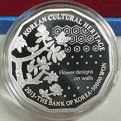 KOREA 2013 50000 50,000 Won UNESCO Heritage Hangeul  SILVER Proof UNC W/BOX+COA