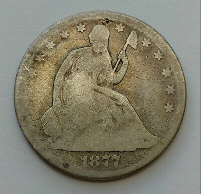 1877 Seated Liberty 90% Silver Half Dollar Good Condition