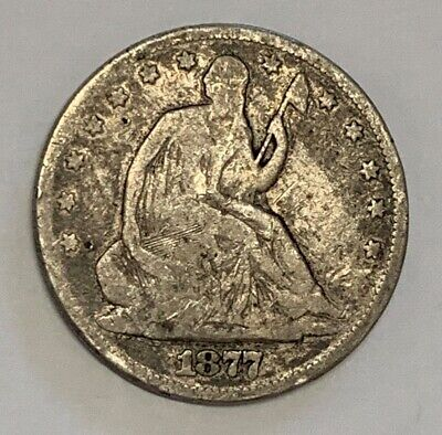 1877 Silver Seated Liberty Half Dollar Very Good Condition