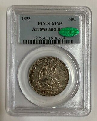 1853 Silver Seated Liberty Half Dollar Arrows and Rays PCGS XF45 CAC