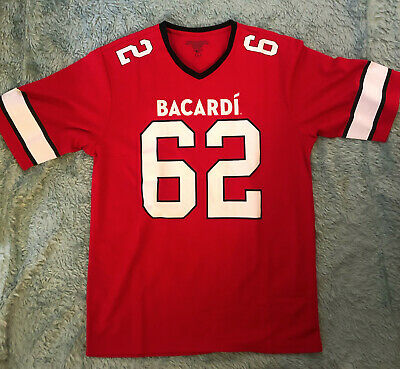 BACARDI RUM Red Football Jersey Size L Alcohol NEW