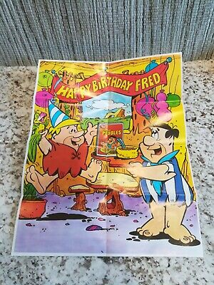 1983 Happy Birthday Fred Flintstone Cocoa Pebbles poster NEW original package