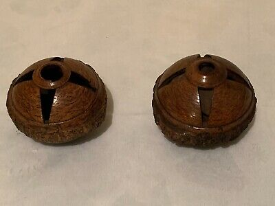 Antique Amazon Carved Brazil Nut Pods - Pair- One Empty One Filled