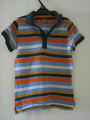 BOY'S NEXT BLUE / MULTI STRIPED POLO SHIRT. Age 5 - 6 years. Height 116 cm.