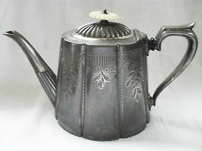 Vintage Ornate Pewter Teapot