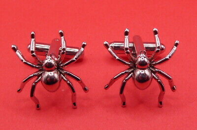 Cufflinks, Silver Toned Spiders  ,  (C1037)