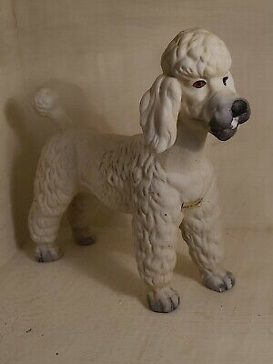 """Vintage Ceramic Standard Poodle 6""""x7"""" long. Noble strong stance Made in Taiwan"""