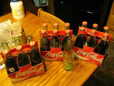 Coca Cola 6 pack full bottles each bottle made in a different plants L00k