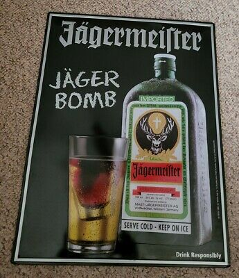 Jagermeister Jager Bomb! Sign Mancave Home bar 18 x 13.5  Embossed.