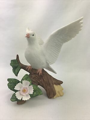 "Beautiful White Dove Bird on Branch Ceramic Figurine with Flower 5""H"
