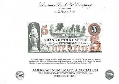 BANK OF THE CAPITOL >Michigan<  1859.  --ABNC--