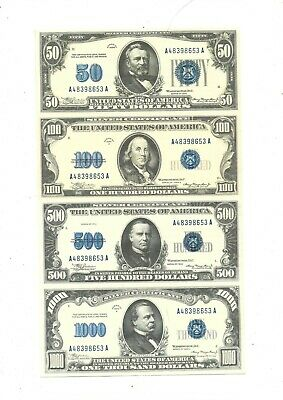 1934 (BLUE) $50, $100, $500, $1,000, $10,000, $100,000,$1,000,000 (reproduction)