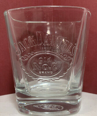 """Jack Daniels Embossed Old No 7 Square Whiskey Glass  """"..We'll make it the best.."""