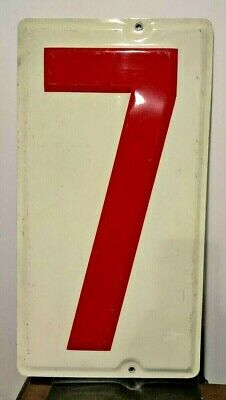 19 inch metal 0 Vintage gas station embossed number zero sign  Large red white aluminum number N12