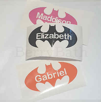 toy sticker water bottle lunch box Personalised Batman name sticker decal