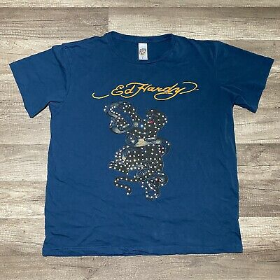 ED Hardy T-Shirt Hollywood Angel Pin-Up Girl Panther Beige
