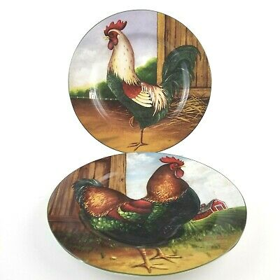 """Sakura Salad Plates Set of 5  Roosters by David Carter Brown /""""On the Farm/"""" EUC"""