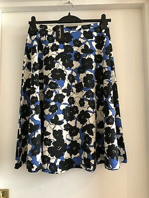 Simply Be Floral Flared Skirt Midi Black Blue Size 18