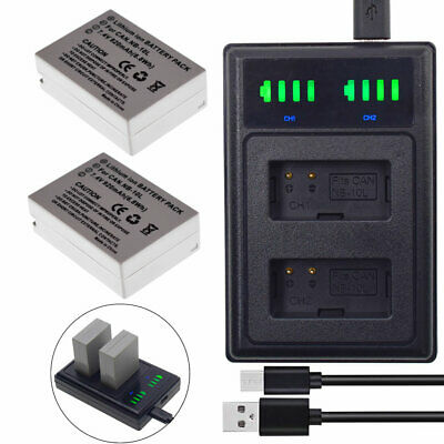 A1214 TWO +DUAL USB Charger NB-10L NB10L Replacement 920mAh 7.4V Battery 2