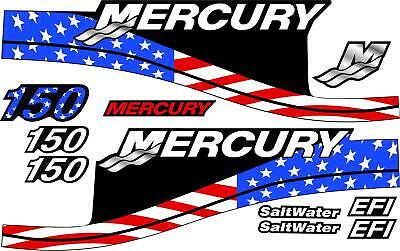 MERCURY BOAT MOTOR COWLING REPLACEMENT DECALS FOR HORSEPOWER RATING CHOICES