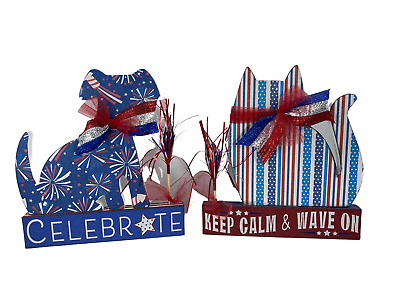 AGD Patriotic Decor Red White Blessed Tinsel Dog and Star Display