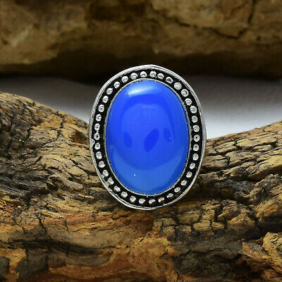 Dazzling Blue Chalcedony Gemstone 925 Sterling Silver Handmade Ring All Size