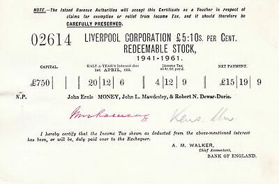 Liverpool Corp. Redeemable Stock 1941-1961 Bank of England Certificate Ref 45812