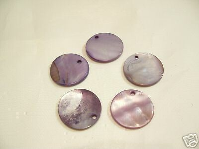 10 x Natural Shell Dyed Bead Discs : BNSB81 Lavender