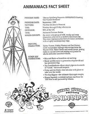 Animaniacs ~1993 Warners Brothers Store Promo Info Provided To Employees