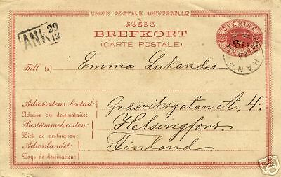 1881 SWEDEN 10ore card to FINLAND with HANGO p/m ship