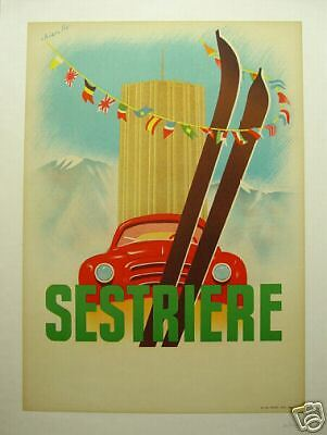 Sestriere Rallye  Italy, 1950's; ORIGINAL event poster