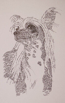 CHINESE CRESTED Dog Art Portrait Print #31 Kline adds dog name free WORD DRAWING