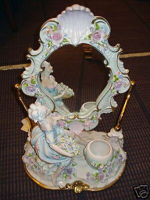 Rare Capodimonte Porcelain of Woman Picking Flowers