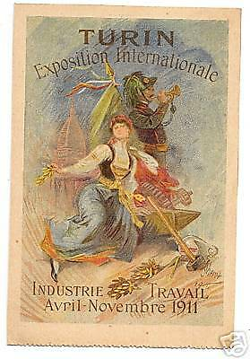 Postcard Original Chromolith By Cheret 1911 Turin Expo