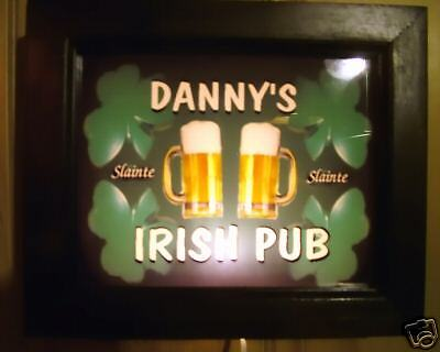 Lighted personalized IRISH PUB bar wall sign 10x12