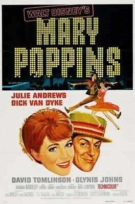 MARY POPPINS MOVIE POSTER Julie Andrews RARE VINTAGE