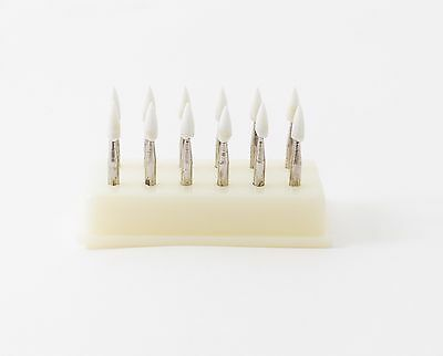 Dental Composite Polishing Finishing Mounted Stones Points White RA Flame 12pack