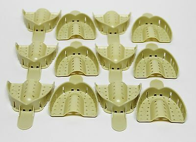 Dental Plastic Disposable Impression Trays Perforated Autoclavable UL #1 12 Pcs