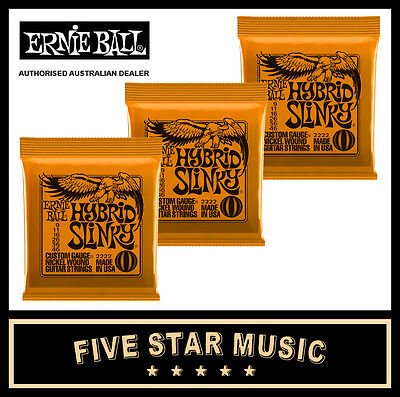 3 Sets Ernie Ball Hybrid Slinky 2222 Electric Guitar Strings 9-46 New E2222