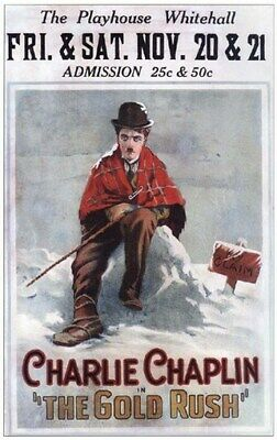 THE GOLD RUSH MOVIE POSTER Charlie Chaplin VINTAGE 4