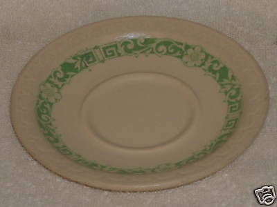 Syracuse China Econo Rim Green Floral Saucer Plate 6 HH