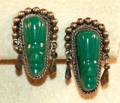 Vintage Mexico Silver Earrings w/Carved Jade Green Mask/Faces! Mayan Design